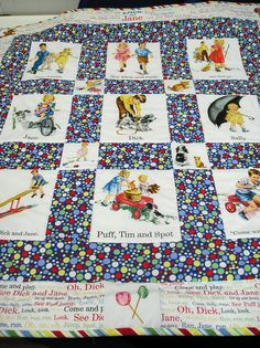Dick and Jane Baby Quilt or Wallhanging by CazenoviaFabrics