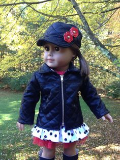 American Girl Doll Clothes - Jacket, Hat, T-shirt and Skirt - Fall Fashions    This outfit puts a fun twist on some classic pieces! It is a 4 pc