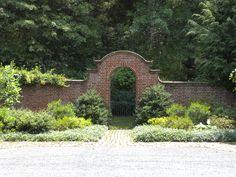 Brick Garden Wall with Wrought Iron Gate.  Johnson, Craven & Gibson Architects, Charlottesville, Virginia