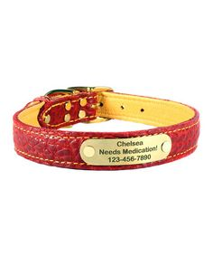 Take a look at this Red & Gold Personalized Leather Dog Collar by dogIDs on #zulily today!