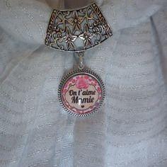 Bijou de foulard ou écharpe cabochon en verre image au choix ou peint à la main par mes soins