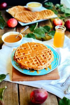WHAT THE WHAT!  Apple Cider Waffles with Salted Caramel