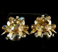 Vendome Signed Earrings Gold Tone Faux Pearl Aurora Borealis Rhinestones | eBay