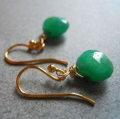 SET Teeny Greenies Emerald Drop earrings and by SueanneShirzay, $78.00