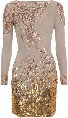MATTHEW WILLIAMSON ENGLAND Abstract Sequin Georgette Embroidered Long Sleeve Dress - Lyst