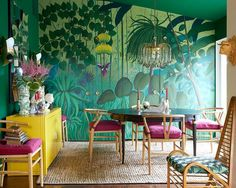 """12.9k Likes, 91 Comments - House Beautiful (@housebeautiful) on Instagram: """"This dining room = the perfect tropical escape.(: @victoriapearsonphotographer