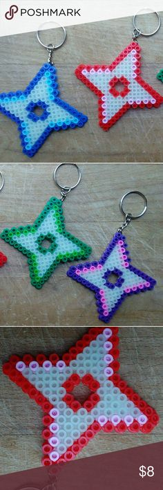 """Pack of 4: Glow in the Dark- Ninja Star Keychains This is a great items for anyone wanting to unleash their inner ninja. They are great accessories to add to backpacks, key rings and anything else you may like  Dimensions: 4"""" X 4"""" X .1"""" Colors: Red/Pink , Blue/Light Blue, Purple/Hot Pink and Green/Light Green Accessories"""