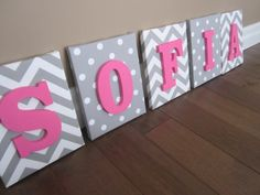 Wall Canvas Letters, Nursery Decor, Nursery Letters, Wooden Letters, Personalized, Nursery Art, grey and White Chevron
