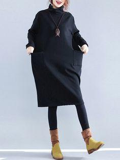 Casual Pure Color Turtleneck Pockets Long Sleeve Women Dresses