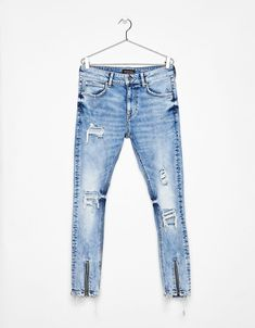 Super skinny jeans with zips - Denim Collection - Bershka United Kingdom