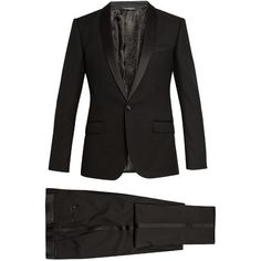 Dolce & Gabbana Shawl-collar three-piece wool-blend tuxedo (2,825 CAD) ❤ liked on Polyvore featuring men's fashion, men's clothing, men's suits, mens shiny suits, mens 3 piece suits, mens tuxedo suits, dolce gabbana mens clothing and mens three piece suit