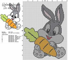 Baby Bugs Bunny with carrot Looney Tunes cartoons character free cross stitch pattern - free cross stitch patterns by Alex Baby Cross Stitch Patterns, Cross Stitch For Kids, Mini Cross Stitch, Simple Cross Stitch, Cross Stitch Rose, Cross Stitch Charts, Cross Stitch Designs, Les Looney Tunes, Looney Toons