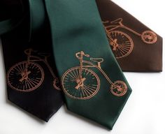 Penny Farthing silk necktie. Antique bicycle men's by Cyberoptix, $40.00