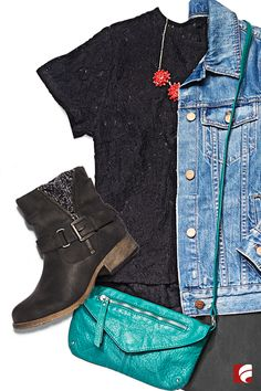 We're loving booties right now! And it's easy to see why this moto-inspired pair is one of our favorites. With buckles, zippers and sweater accents, what's not to love? Wear them with a lacy black shirt and a distressed jean jacket for a look that's tough and delicate at the same time.