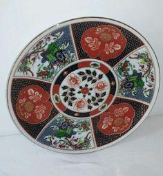 """Vintage Imari porcelain plate Japan 8.5"""" red gold"""