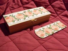 drewniany piórnik i zakładka do książki ozdobione metodą decoupage #piórnik #zakładka #decoupage