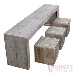 steigerhouten kindertafel Finn- Krukje Levi, nieuw met beits