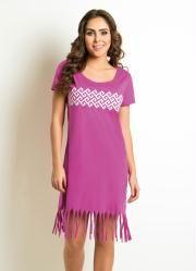 Vestido (Pink) com Franja na Barra