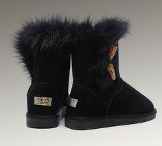 UGG Fox Fur Short Boots 5685 Black http://www.pickmybestboots.net/
