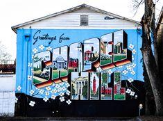"See the mural ""Greetings from Chapel Hill"" created by Scott Nurkin. Carolina Pride, Carolina Blue, Carolina Girls, Unc College, College Life, Unc Chapel Hill, Unc Tarheels, University Of North Carolina, Photo Wall Collage"