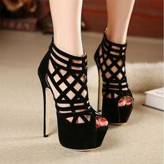 $27.19 (Buy here - https://alitems.com/g/1e8d114494b01f4c715516525dc3e8/?i=5&ulp=https%3A%2F%2Fwww.aliexpress.com%2Fitem%2F2015-Hot-Sales-SIZE-35-40-Fashion-Week-stunning-16CM-super-beautiful-high-heeled-sandals-Thin%2F32374771122.html) 2016 Hot Sales SIZE 35-40 Fashion Week stunning 16CM super beautiful high-heeled sandals Thin Heels sexy  Cut-Outs women shoes