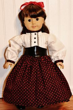 Garibaldi Shirt, Skirt and Belt fit  American Girl  Doll Clothes - Made in America