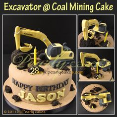 Excavator themed birthday by Pearlycakes.com