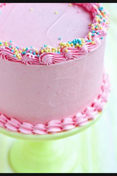 Pretty pink cake with sprinkles. Idea only