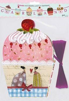 Muffin_Girlande_von_Silke_Leffler Marquis, Whimsical Art, Princess Party, Muffin, Cupcakes, Illustrations, Wonderland, Faeries, Board