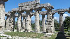 Tempio di Hera (detto Basilica) di Paestum.  Fu trasformato in chiesa. Il numero delle colonne sul lato breve è  dispari. 530 a.C. Entasi e rastremazione molto pronunciati.  Echino schiacciato.