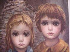 "Vintage KEANE print ""LOST"" Big Eyes Boy Girl Dog!!! + Free Print"