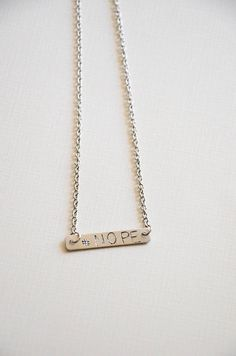 personalized hand stamped hashtag  NOPE necklace/ gold bar