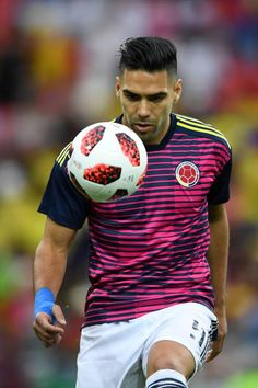 Radamel Falcao of Colombia during warms up prior to the 2018 FIFA World Cup Russia Round of 16 match between Colombia and England at Spartak Stadium. Fifa World Cup, Russia, Soccer, England, Football, Warm, Mens Tops, Soccer Pics, Colombia