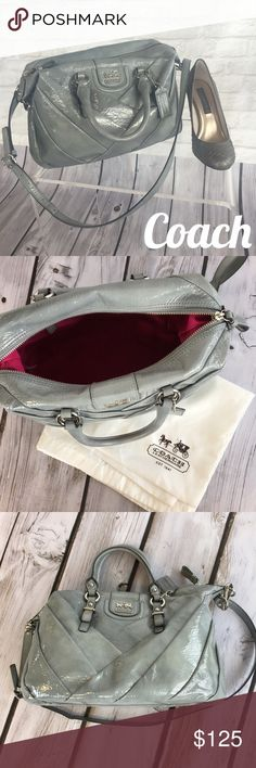 Coach Bag  Unique sea foam green/turquoise patent leather bag. The photos truly do not do it justice! This bag has a shoulder strap and a handle. One small inner pocket in the interior side. There is  small discoloration/mark on the front - otherwise is great condition! The will come with a large coach dust bag (small black marks on that). It's an amazing bag! Large and versatile. Coach Bags