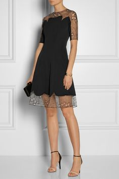 Lela Rose | Lace-trimmed gabardine dress