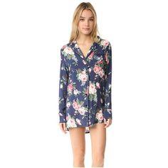 Wildfox Gypsy Rose Dreamer Sleepshirt (1.289.595 IDR) ❤ liked on Polyvore featuring intimates, sleepwear, pajamas, gypsy rose, long sleeve sleepwear, wildfox, rose jersey, long sleeve night shirt and long sleeve jersey