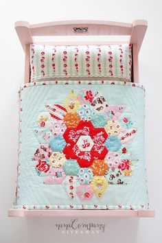 Doll Quilt featuring Milk, Sugar & Flower designed by Elea Lutz for Penny Rose Fabrics. Small Quilts, Mini Quilts, Baby Quilts, Crib Quilts, Miniature Quilts, Doll Beds, Barbie Furniture, Furniture Vintage, Quilt Bedding