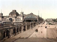 Dresden Hauptbahnhof um 1900, eine der drei Bahnhofshallen