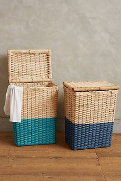 Handpainted Rattan Hamper- paint one of the roadside baskets. Wicker Hamper, Wicker Table, Rattan Basket, Sisal, Anthropologie Home, Interior Decorating, Interior Design, Decorative Storage, Home Accessories