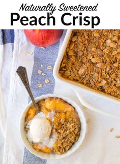 A perfect recipe for Peach Crisp. This healthy peach crisp is naturally sweetened with honey, packed with juicy peaches and has an irresistible oat topping. Great for freezing ahead of time. #wellplated #dessertwithfruit #peach Healthy Treats, Healthy Baking, Healthy Desserts, Delicious Desserts, Healthy Recipes, Easy To Make Desserts, Food To Make, Healthy Peach Crisp, Sugar Cravings