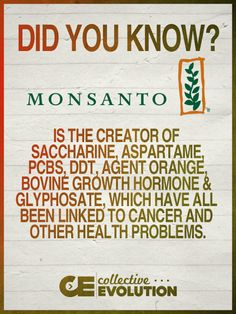 [CasaGiardino] ♛ Did you know this about Monsanto? March against Monsanto! They are a horrible company! Good To Know, Did You Know, Salud Natural, Growth Hormone, All Family, Health Problems, Just In Case, The Cure, Cancer