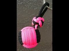 Paracordist how to tie the loop knot on a paracord monkeys fist keychain fob - YouTube