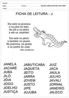 Ficha de Leitura Letra J - Jacaré Reading Skills, Phonics, Professor, Homeschool, Math Equations, Education, Bernardo, Google Drive, Word Reading