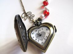I Heart #Victorian Mori Forest #Steampunk Inspired Real working Pocket watch #Necklace @etsy #handmade #jewelry