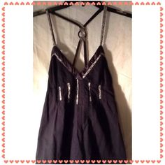 """Cute Black Summer Top Super cute black summer top with gray lace trim.  Unusual strap setup with plastic ring at the back, see pics.  Says size Medium, but is on the Small size.  Straps are adjustable, as pictured approx. dimensions are: 27"""" long and 13"""" under bra area.  I think it's cotton.  Made in India. Kimchi Blue Tops Camisoles"""