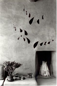 Mobile by Alexander Calder at Georgia O'Keeffe's house in Abiqui, New Mexico, 1980. Photo by Myron Wood