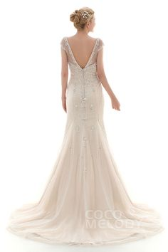 Glamour Trumpet-Mermaid Illusion Dropped Court Train Satin and Tulle Ivory/Champagne Cap Sleeve Open Back Wedding Dress with Embroidery and Beading CWLF16001 #weddingdresses #cocomelody #custom dresses