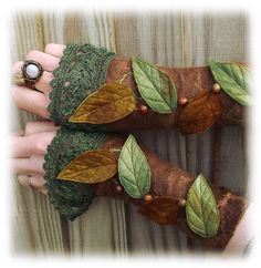 more wrist cuffs - Forest Cuffs - Faerie Cuffs - Vintage lace cuffs   $48.00 USD  Only 1 available. •Handmade item: •Materials: silk, wool, wooden beads, nuno felt