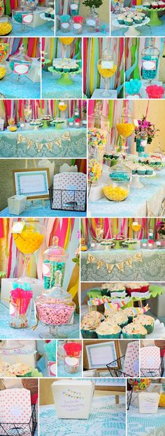 vintage pink and tiffany blue dessert table- these colors without the yellow?