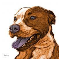 orange pitbull fractal pop art by artist James Ahn - 7773